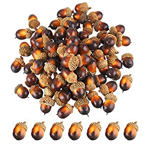 Bememo 100 Pack Artificial Acorns Lifelike Simulation Acorn with Natural Acorn Cap for DIY, Crafting, Wedding, House Decor 6