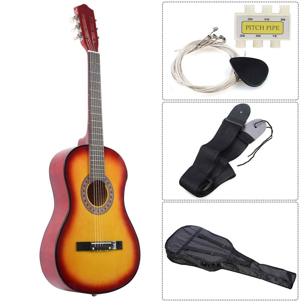 Wooden Guitar, Safeplus Multi-color Beginners Acoustic Guitar with Guitar Case, Strap, Guitar pick, Tuner