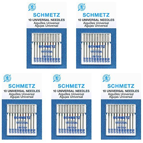(50 Schmetz Universal Sewing Machine Needles -  Assorted sizes - Box of 5 cards)