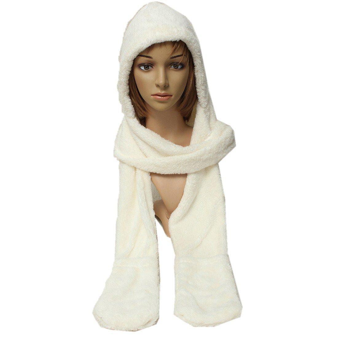 6befa370a8fd2 Femmes Epais Gant Chapeau Bonnet Capuche Plush Echarpe Chale Earflap Hat  Gloves: Amazon.fr: Beauté et Parfum