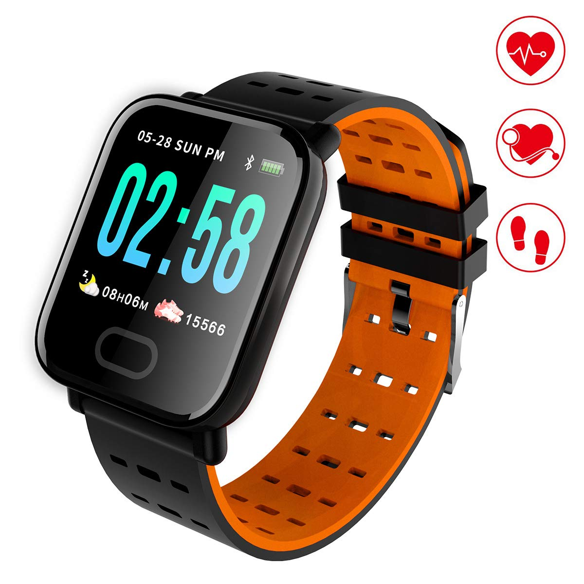 HAOHUI Fitness Tracker with Heart Rate Monitor, Color Screen Waterproof Sports Activity Tracker Smart Watch with Sleep Monitor, Step Tracker, Calorie Counter, Pedometer Watch for Kids Men Women