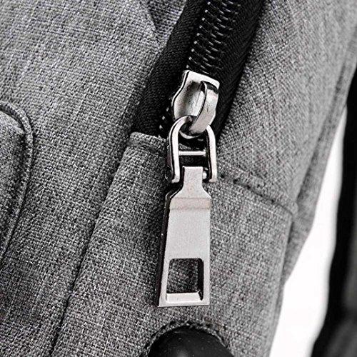 con de Senderismo Ligero Interfaz Aire de Hombre Al de de Hombro Honda Más Viaje Libre Bandolera Gris Pequeña Daypack Gris Mochila USB Deportes Logobeing Bolso Lona Carga RxTZqOR