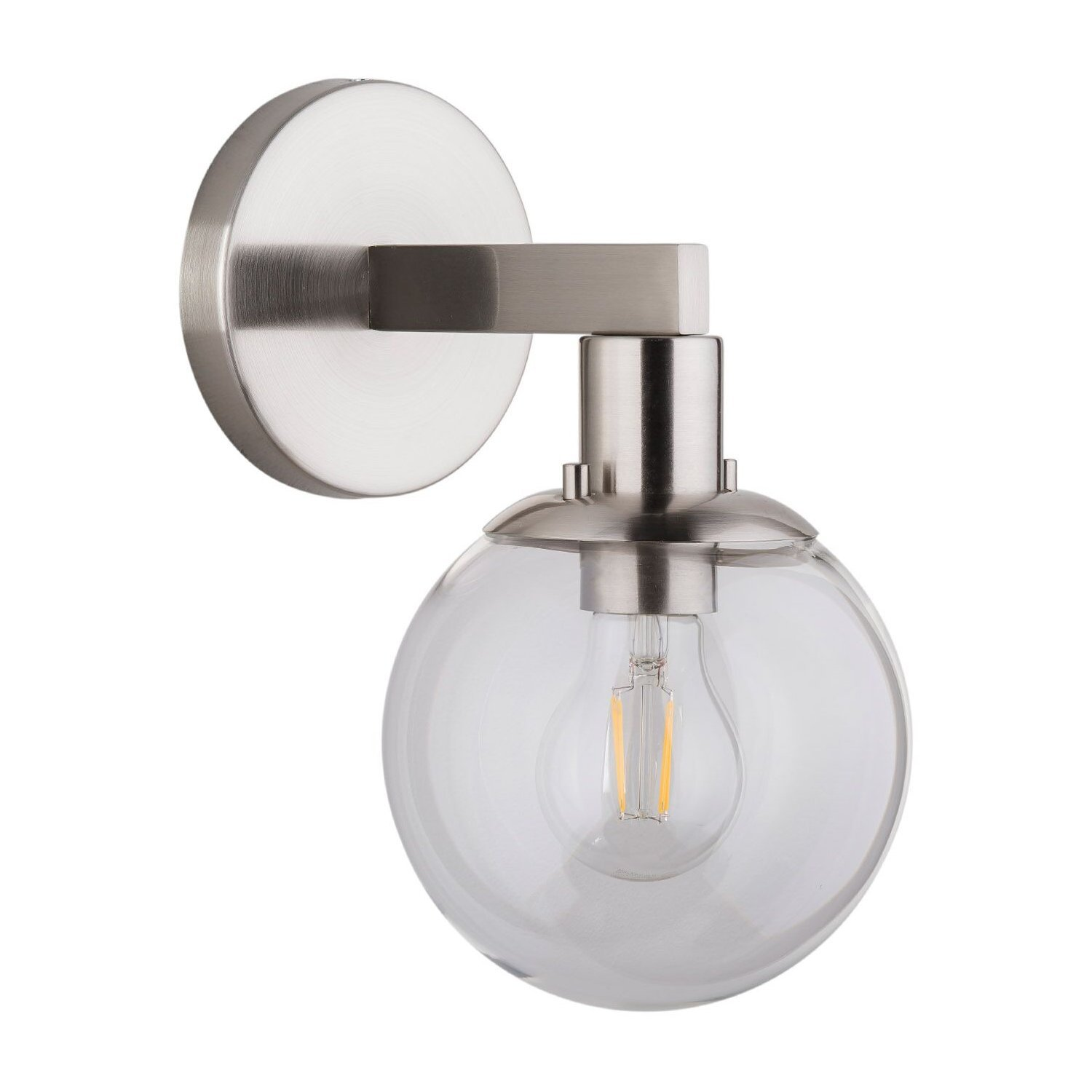Sferra LED Industrial Wall Sconce – Brushed Nickel w/Clear Glass Globe – Linea di Liara LL-SC225-BN
