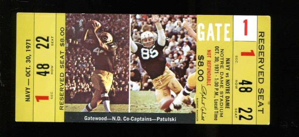 05a93716a73 1971 Navy v Notre Dame Football Ticket Full 10/30/71 33137 at Amazon's  Sports Collectibles Store