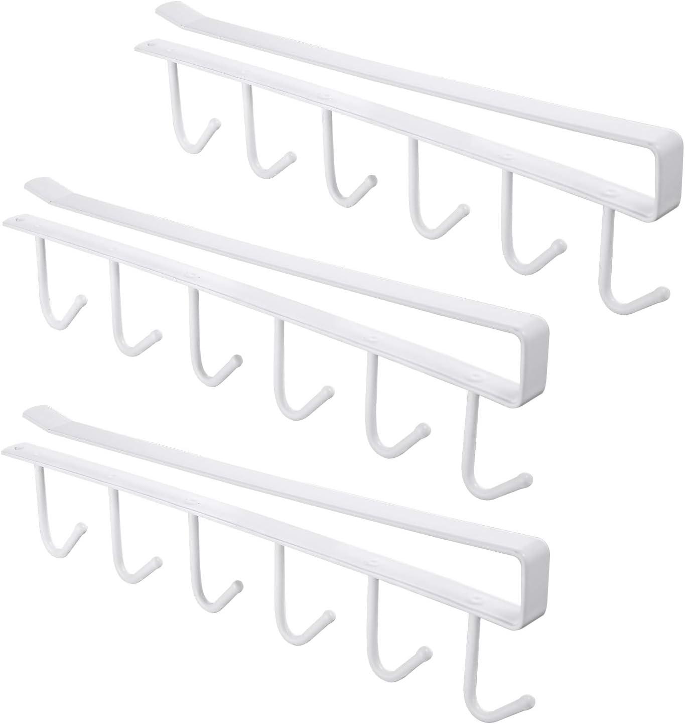 3pcs Mug Hooks Under Cabinet Mug Holder Rack, Drilling Free Coffee Cups Holder Hanger for Cups/Kitchen Utensils/Ties Belts/Scarf/Keys Storage, Fit for 0.8inch Thickness Shelf or Less (White)