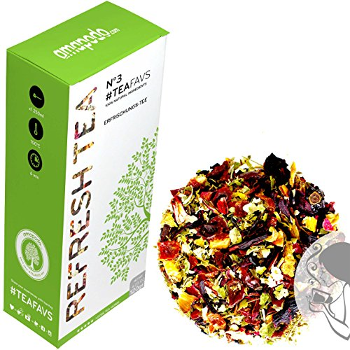 ERFRISCHUNGSTEE - 14 Tage Detox Tee Kur - Entschlackungstee - Hibiskus, Apfel, Hagebutte, Brombeerblätter, Rosenblüten, Fenchel, Ringelblume - amapodo