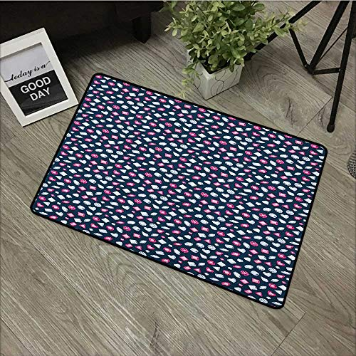 Interior Door mat W31 x L47 INCH Diamonds,Round Marquise Square and Heart Shape Arrangement on Dark Color, Dark Blue Pink Baby Blue Easy to Clean, no Deformation, no Fading Non-Slip Door Mat Carpet