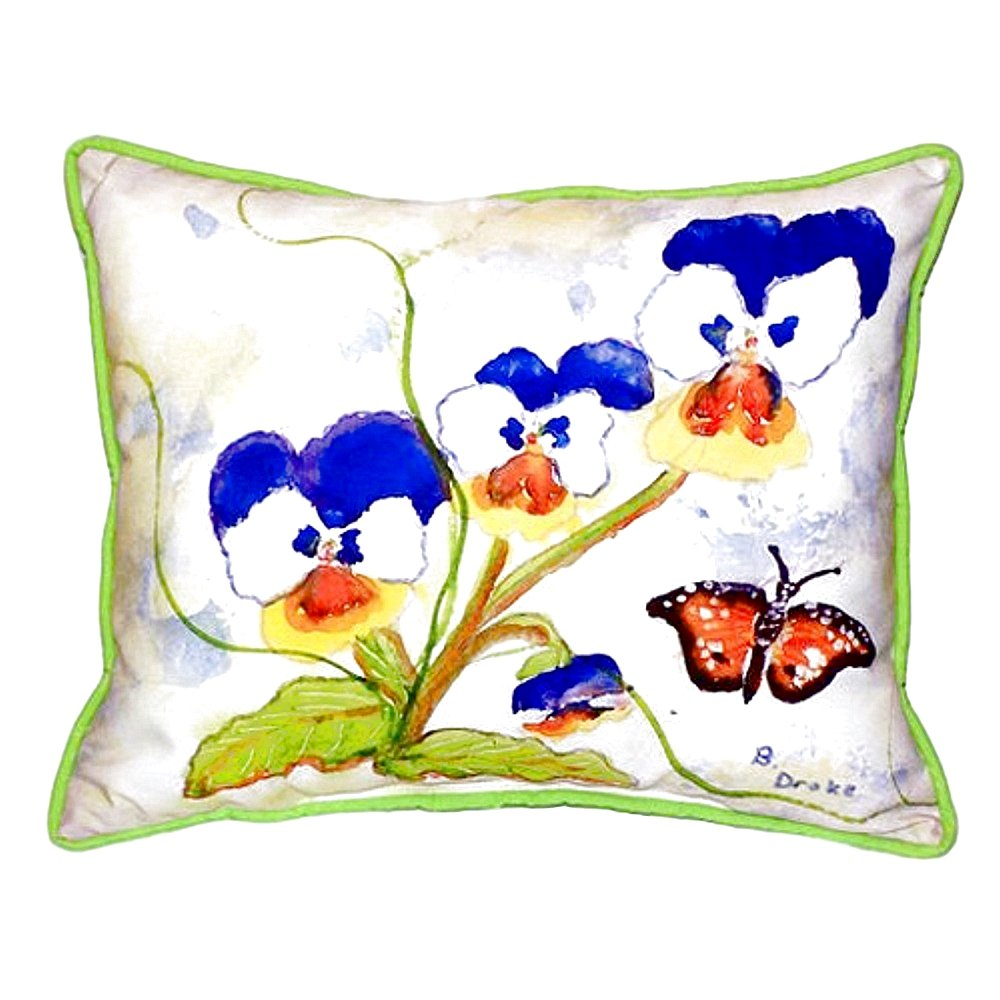 Betsy Drake SN209 Pansies Small Indoor//Outdoor Pillow 11 x14