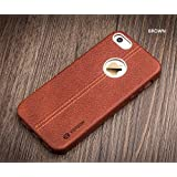 Vorson Apple iPhone 5S, 5 SE LEXZA Series Double Stitch Leather Shell Back Cover - Brown