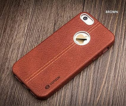 new style a7ada bf08a ikazen Vorson Apple iPhone 5S, 5 SE LEXZA Series Double Stitch Leather  Shell Back Cover (Brown)