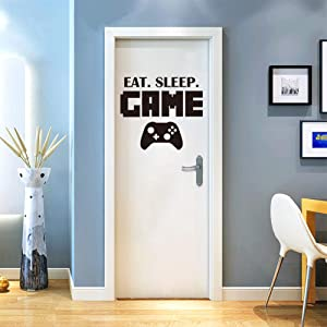 EAT Sleep Game Decal Wall Sticker Personalized Boy Girl Gamer Video Wall Controller Game Wall Stickers Boys Bedroom Home Decor (18.7in16.5in)