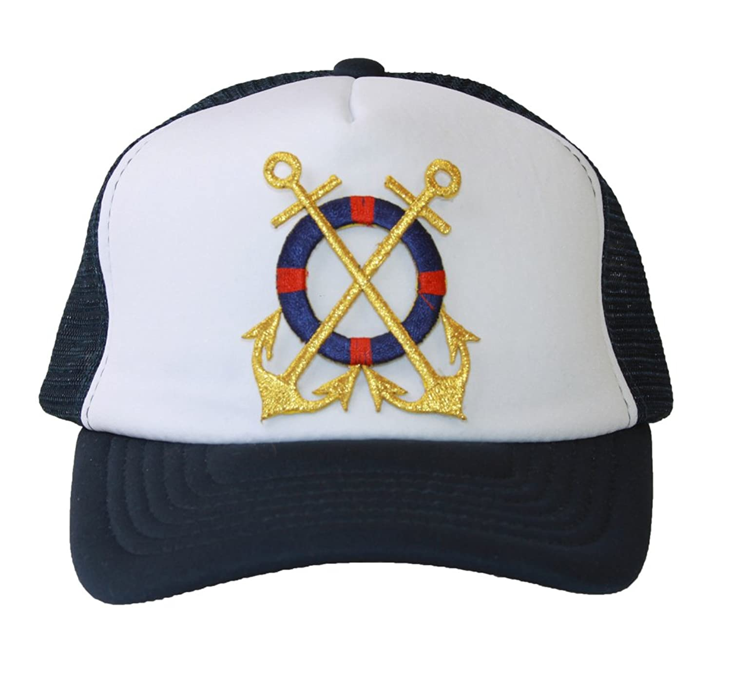 Trucker Mesh Vent Snapback Hat, Gold Anchor 3D Patch Embroidery Navy Blue