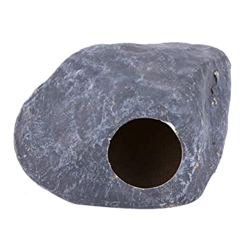 Reptile House Hiding Cave Resin Habitat Decoration for Small Lizards Snake Python Turtles Amphibians Gecko Spider Hamster Fish Grey
