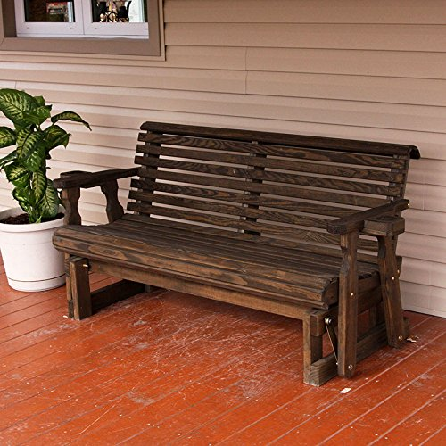 [Amish Heavy Duty 800 Lb Roll Back Pressure Treated Porch Glider With Cupholders (5 Foot, Dark Walnut Stain)] (Back Porch Glider Bench)