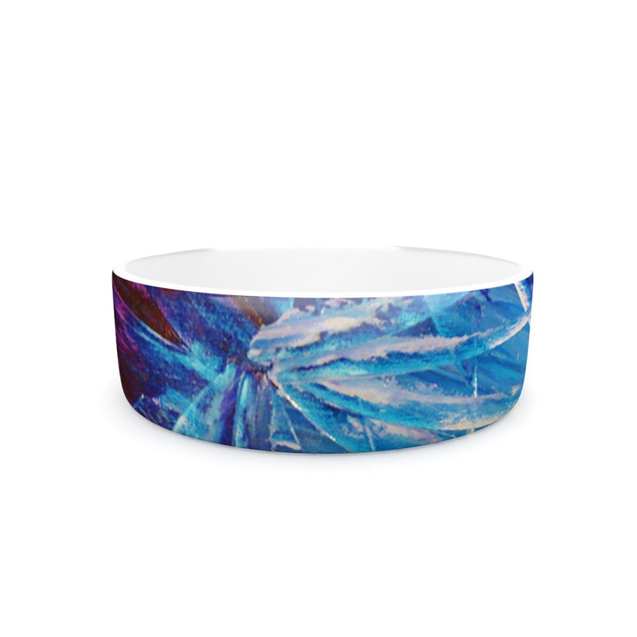 Kess InHouse Ebi Emporium Night Flowers  Pet Bowl, 7-Inch, bluee White