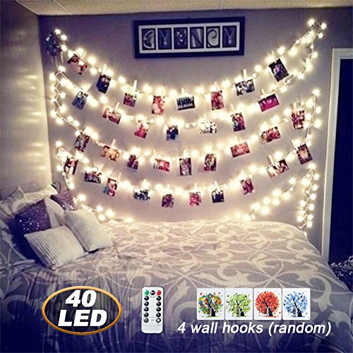 [ Remote&Timer]40 LED Photo Clips String Lights,18ft USB Powered Fairy String Lights for Hanging Photos Pictures Cards and Memos, Ideal gift for Bedroom Decoration (Warm White)
