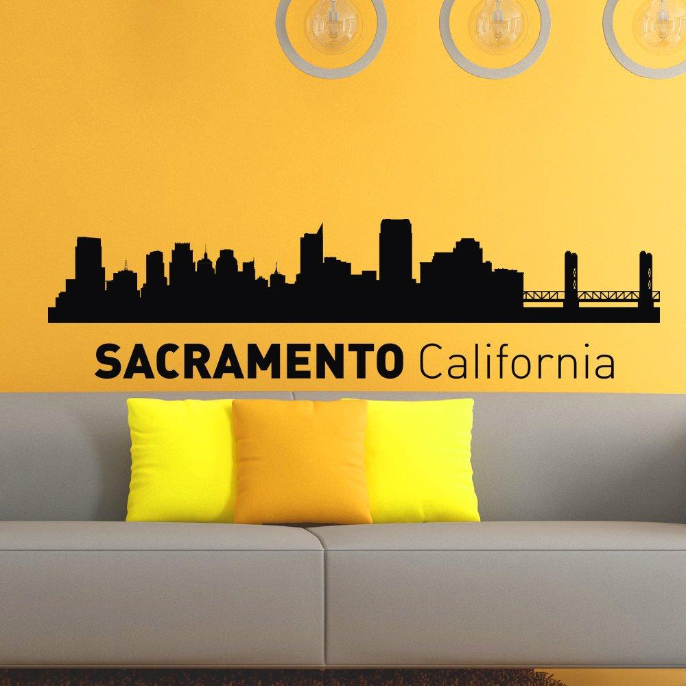 Sacramento california skyline city silhouette wall vinyl decal sticker home decor art mural z489 amazon com
