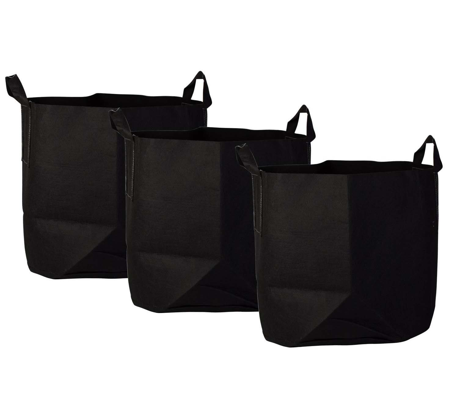 Bekith 10 Gallon 3 Pack Planting Grow Bags Soft-Sided Container/Fabric Plant Bag with Sturdy Handles, Black