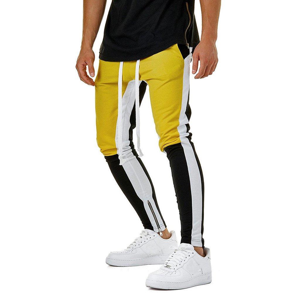 Shybuy Men's Athletic Skinny Track Pants Hip Hop Ankle Zipper Jogger Pants Fashion Color Block Sweatpants Drawstring Trouser (Yellow, M)