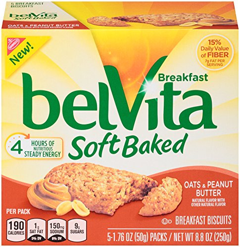 - belVita Oats & Peanut Butter Soft Baked Breakfast Biscuits, 5 Count Box, 8.8 Ounce (Pack of 6)