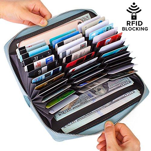 Wallet Leather RFID Wallet with Zipper for Women or Men, Huge Storage Capacity Credit Card Holder (Sky Blue) ()