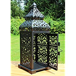 Black Temple Moroccan Style Candle Lantern