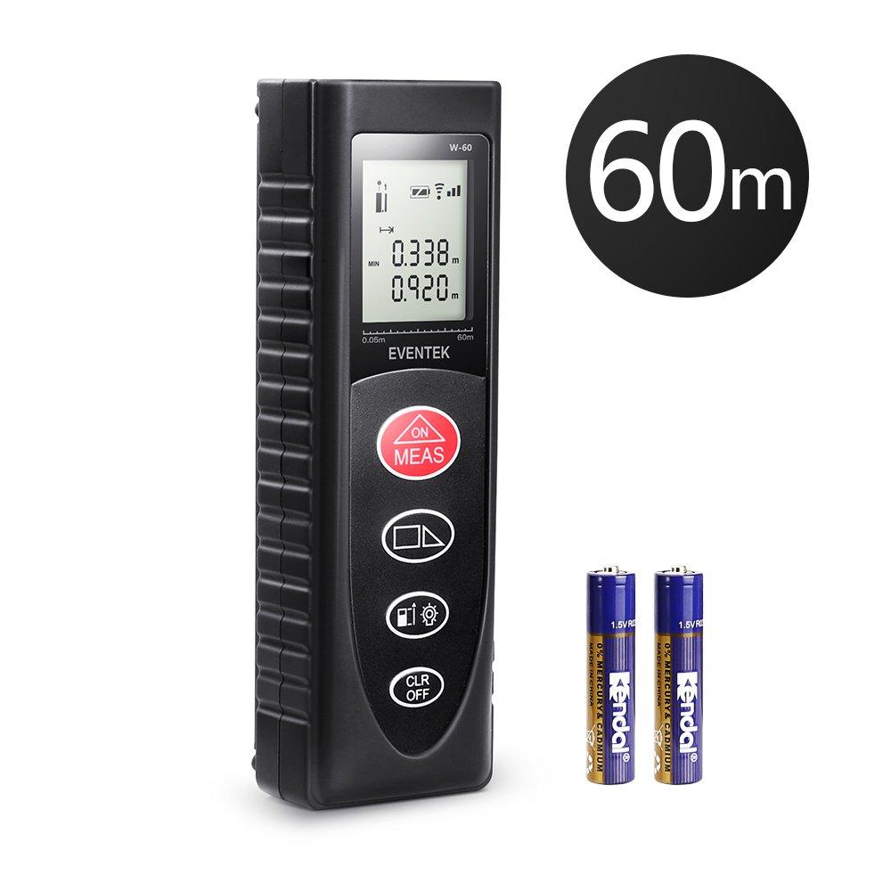 Eventek Laser Measure 196ft, 60m Laser Distance Meter Portable Laser Measure Tool with Backlit LCD Measure Distance/ Volume/ Area/ Pythagorean (Battery Included)
