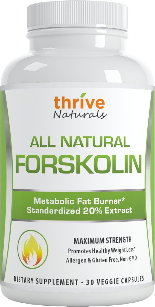 Thrive Naturals Forskolin Advanced * 100% Pure and Natural Forskohlii Extract * Promotes fat burning targeting belly fat * Helps improve metabolism * Helps support lean muscle, while burning stored fats in fatty cells * Promotes healthy weight loss for al