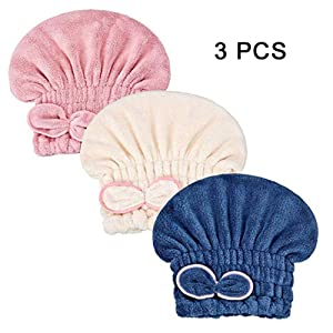 Microfiber Hair Drying Caps,Fast Drying Hair Wrap Towels Elastic Shower Caps for Girls and Women,3 Pcs
