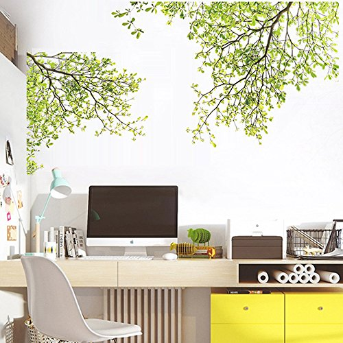 (Quaanti Creative Beautiful Large Cherry Blossom Flower Butterfly Tree Wall Stickers Art Decal Home Decor Nature Leaves Interior Decoration)