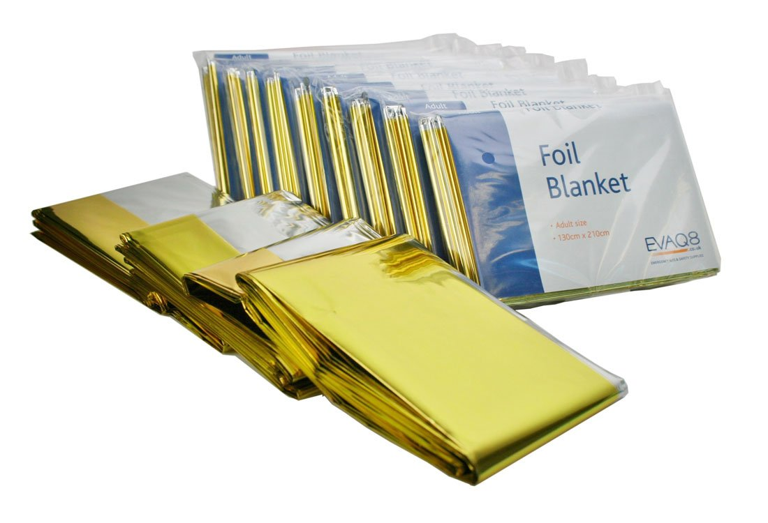 Pack of 10 Gold & Silver Foil Blankets - Adult Size EVAQ8