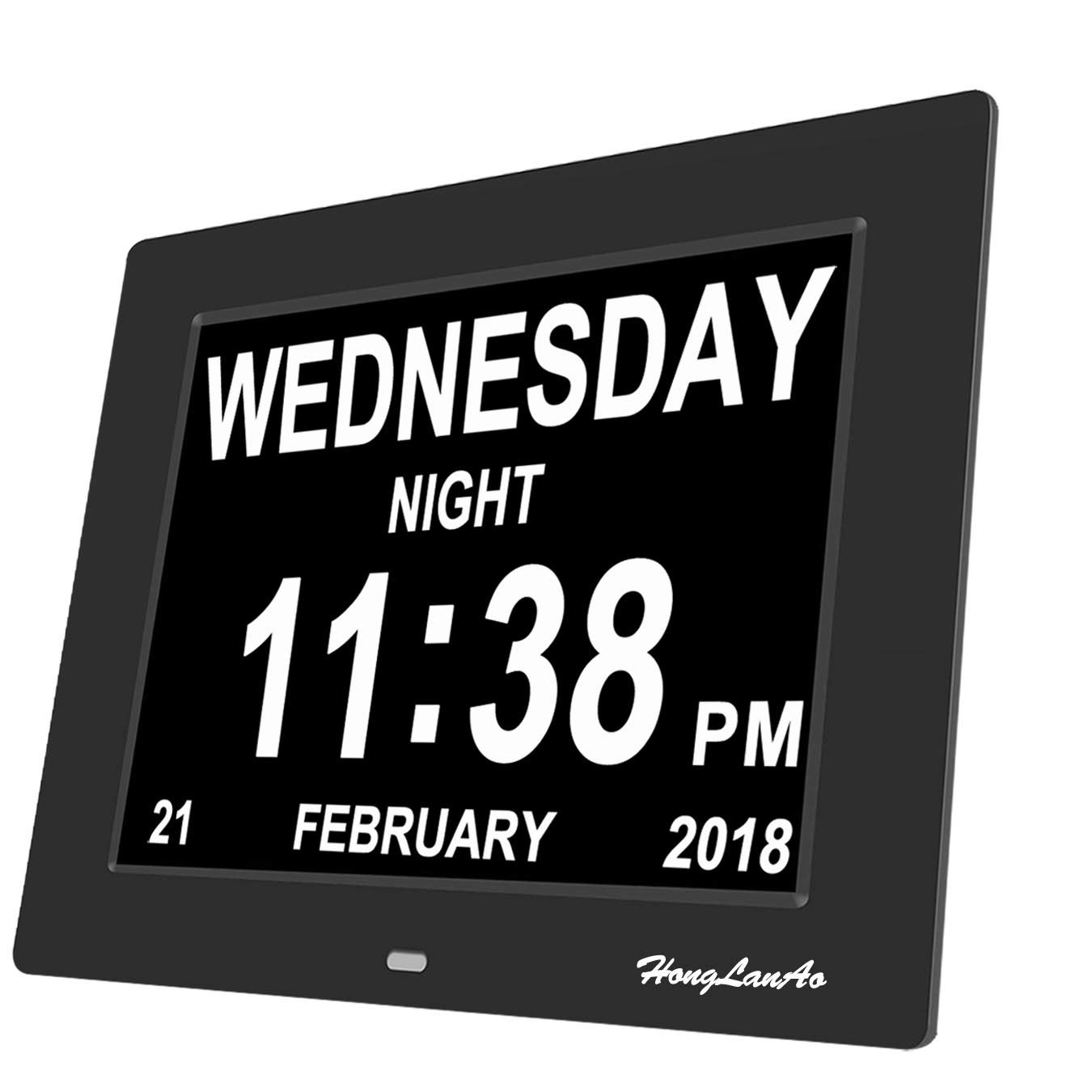 Day Clock - Digital Calendar Day Clock with Extra Large Non-Abbreviated Day and Month | HongLanAo® Digital Clock for The Original Memory Loss (8inch / Black)