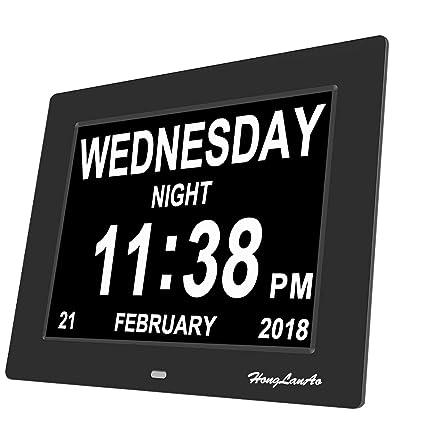 Calendario Giorno.Hla 8 Digitale Calendario Giorno Tempo Orologio Con Non Sigle Giorno E Mese Digital Calendario Settimana Sveglia Orologio Alzheimer Senioren