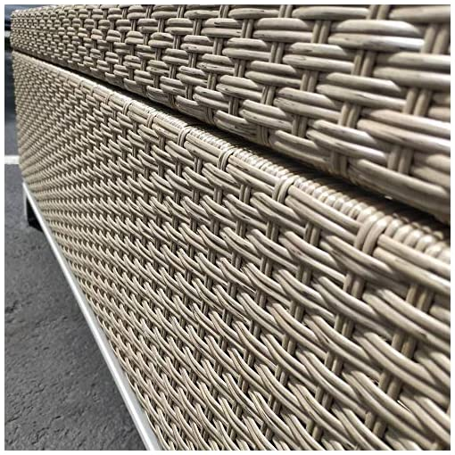 Incredible Rattan Wicker Deck Storage Box Small Outdoor Storage Bench With Seat Cushion Aluminum Frame Tan Rattan And Beige Cushion Creativecarmelina Interior Chair Design Creativecarmelinacom