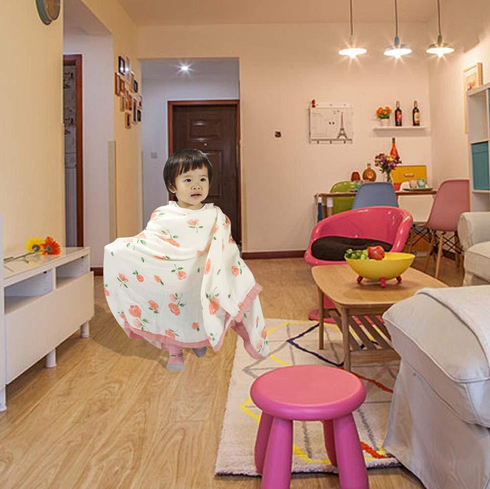 monfish Muslin Baby Toddler Blanket- Large Ultra-Soft Pink Rose Blanket for Girls- Bamboo Baby Everything Blanket-Two Layer Stroller Blanket Pink Rose