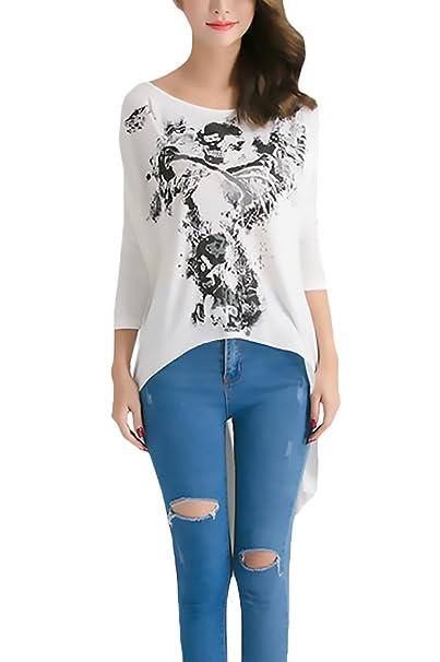 Camisetas Mujer Verano Manga Corta Cuello Redondo Ancho Calavera Esqueleto Estampado Hippies Espalda Perspectiva Vintage Casuales Largas T-Shirt T Shirt ...