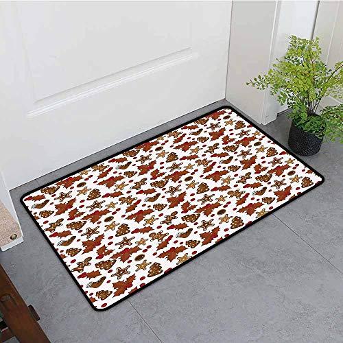 (Beihai1Sun Bedroom Doormat,Christmas Holly Berries Gingerbread Man Cookies Cartoon Style Winter Season Holiday,for Outdoor and Indoor,24