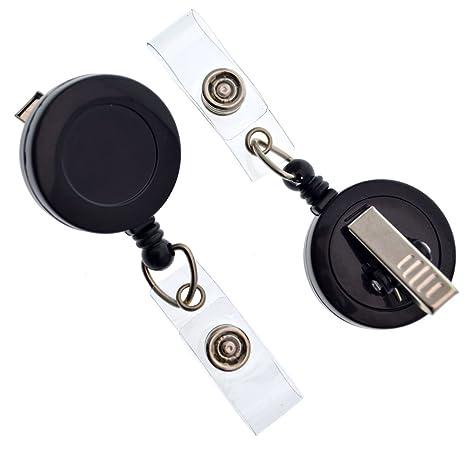 25 Pack - Bulk Premium Black Retractable Badge Reels with Alligator Swivel  Clip & Vinyl Card Holder Strap by Specialist ID - Bulk Premium Black