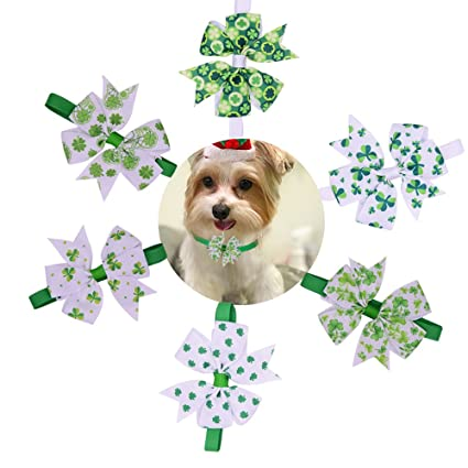 Amazoncom 10pcspack St Patrick S Day Dog Bow Ties Pinwheel