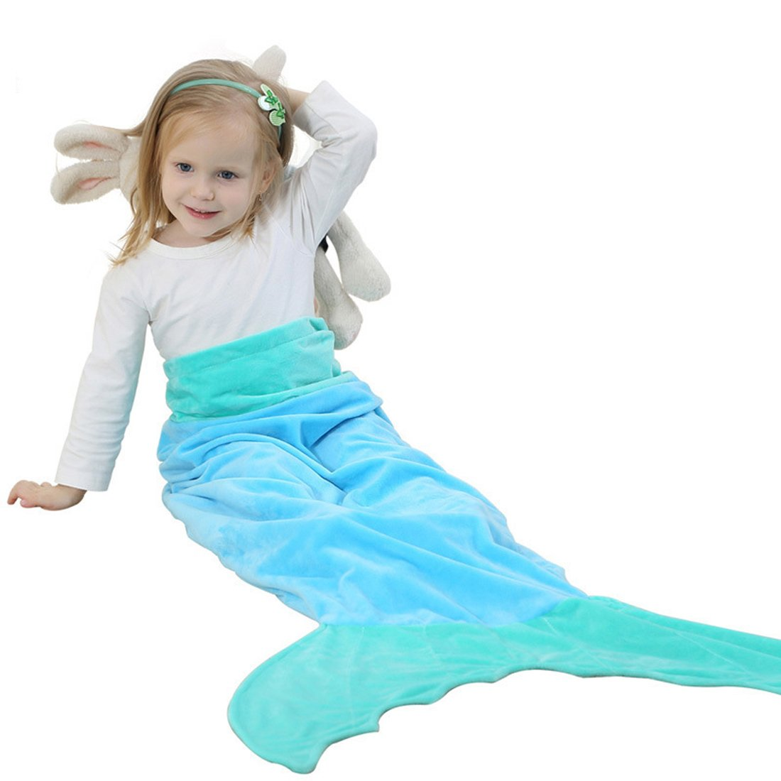 belifecosマーメイドテールBlanket for Kids / Teen Girls Sleepingバッグ(ブルー) 53x22inch(0-8years old) Blue Mermaid B076MPMZLG
