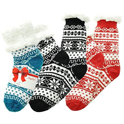 rpa-Lined Thermal Socks, 3-Pack Fair Isle, One Size (Sherpa Lined Thermal)
