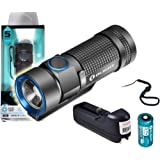 Rechargeable Bundle - Olight S1 Baton 500 Lumen Compact EDC LED Flashlight with Olight 16340 RCR123A Rechargeable Battery, Lanyard and Lumentac Charger