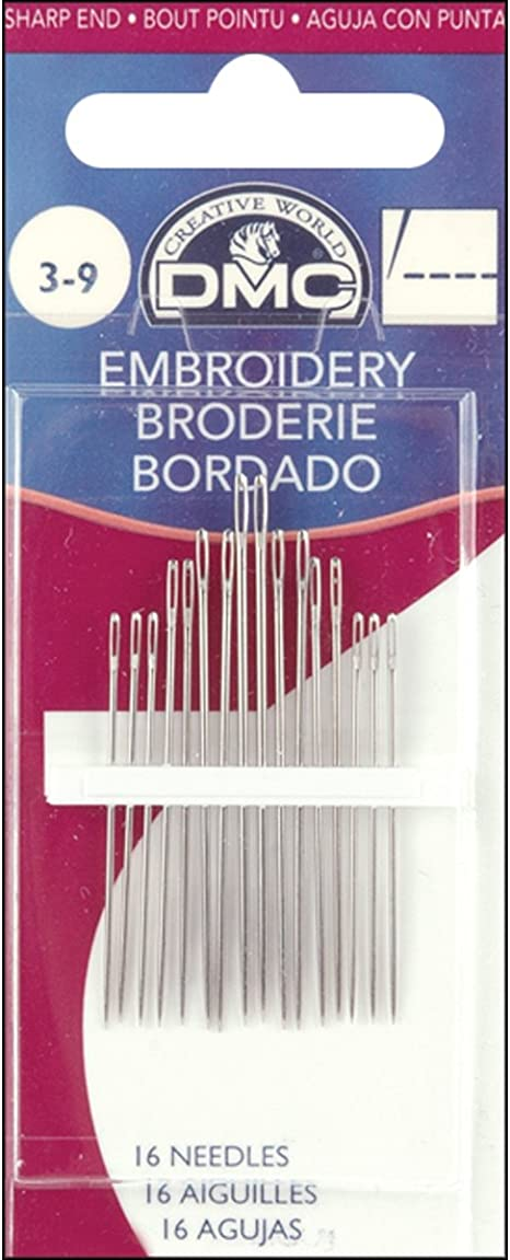 DMC 1765-1//5 Embroidery Hand Needles 12-Pack Size 1-5