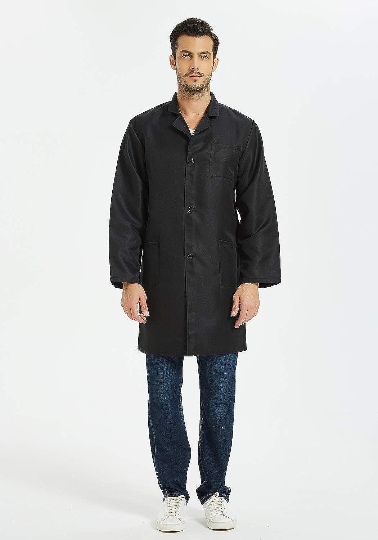 VOGRYE Professional Lab Coat for Women Men Long Sleeve White Unisex