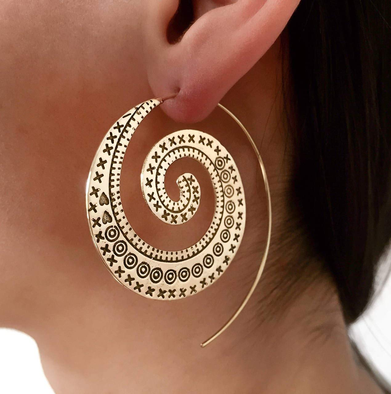 53fb9df9d52d1 Amazon.com: Brass Earrings - Brass Spiral Earrings - Tribal Earrings ...
