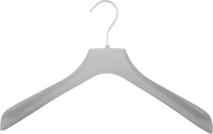 10 St/ück grau Kleiderbuegelshop24 edler Samtkleiderb/ügel f/ür Jacken und M/äntel 38cm