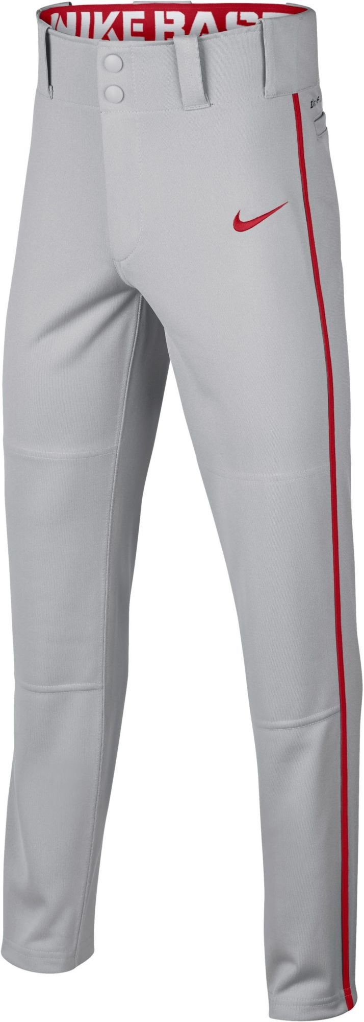 Nike Boy's Swoosh Piped Dri-FIT Baseball Pants (Grey/Red, X-Small)