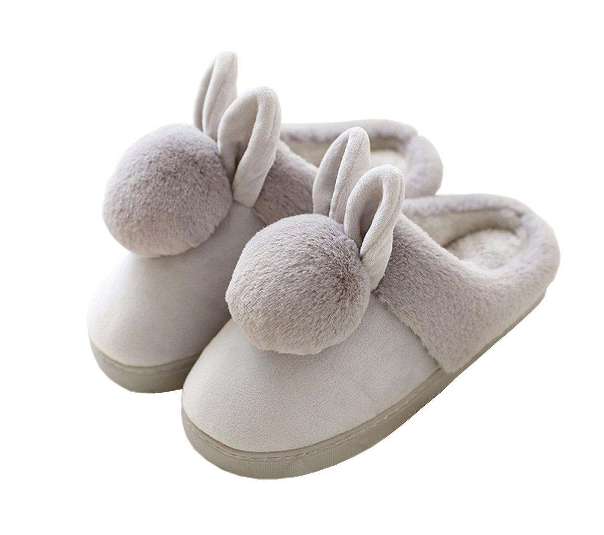 Rojeam Pantofole del coniglio delle ragazze delle signore scivolano sulle pantofole calde della peluche della novità degli uomini delle donne Grigio