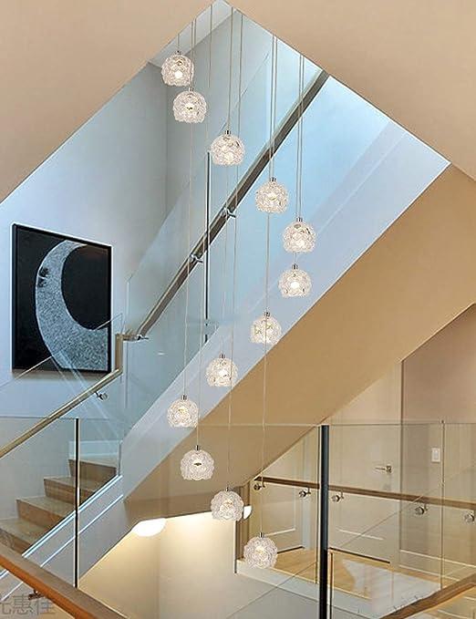 BDS lighting 12 Unids Bolas de Cristal Araña Larga Espiral Multi Luces Luces Colgantes para Escalera Sala de Estar Restaurante Sombra de Cristal Sombra, Tamaño Grande, 40x150cm: Amazon.es: Hogar