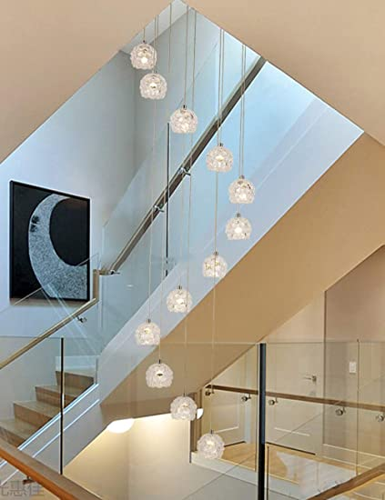 Amazon com: BDS lighting 12 Pcs Glass Balls Long Chandelier